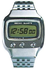 Seikos første digitalur med quartz, 1973. Billede udlånt af The Seiko Museum.