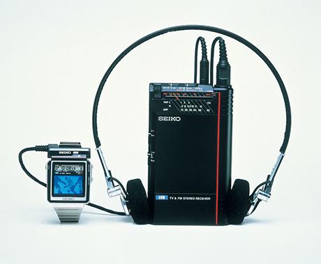 Seikos tv ur med LCD-skærm, verdens første af slagsen. Billede udlånt af The Seiko Museum.